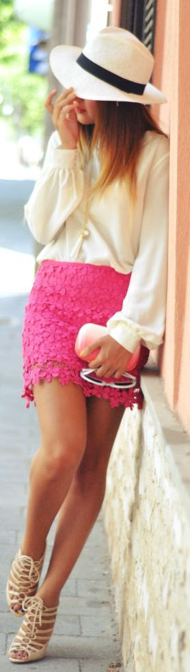 So lady like and fun! <3 Colored lace skirt, sheer white top, heels, floppy hat and clutch!