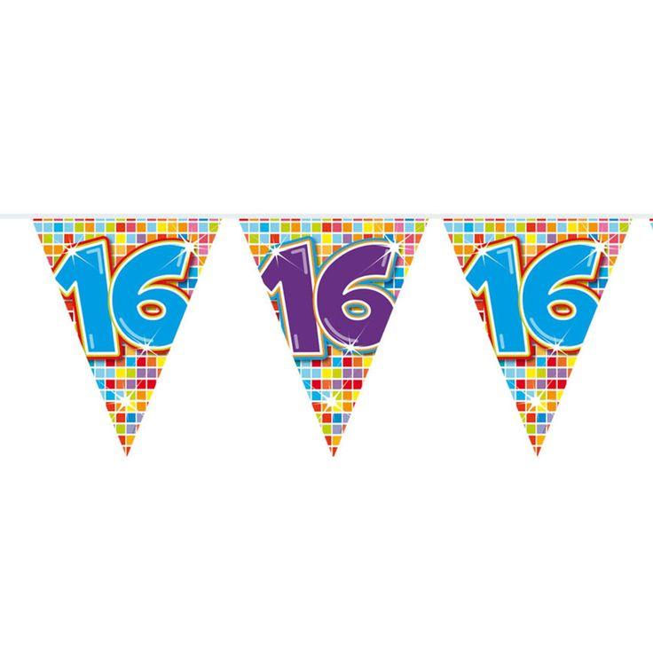 Mini Vlaggenlijn Blocks 16 jaar, 3mtr.Afmeting:  lengte 3 meter - Mini Vlaggenlijn Blocks 16 jaar, 6mtr.
