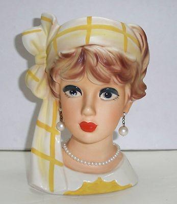 """Vintage 50's-60's Relpo 7¼"""" Lady Head Vase"""