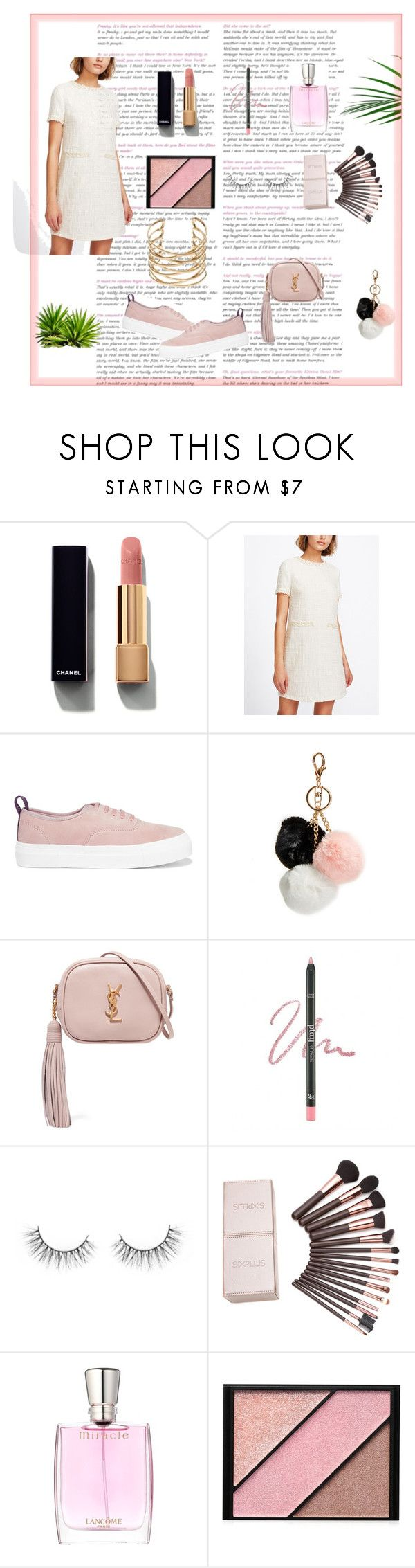 """""""pop of pink"""" by claire-166 ❤ liked on Polyvore featuring Chanel, Eytys, GUESS, Yves Saint Laurent, Etude House, Lancôme and Elizabeth Arden"""