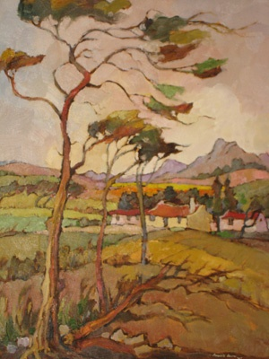 "Kobus Louw 20th Century South African Oil ""Windy Day Overberg"" www.5thavenueauctions.co.za"