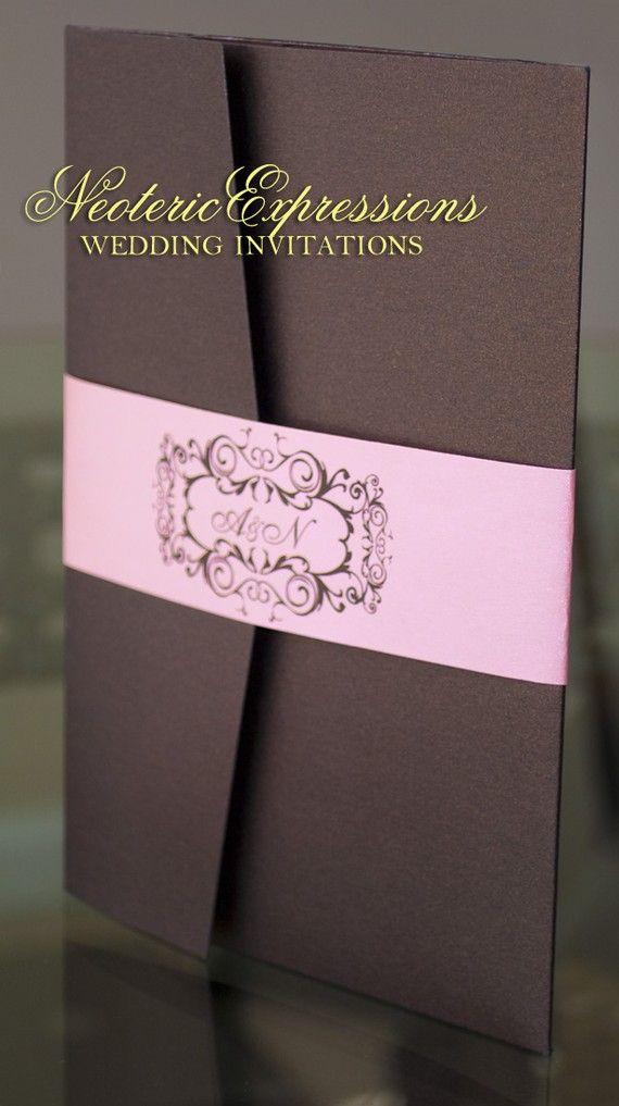 Brown u0026 Pink Wedding Invitation Metallic by