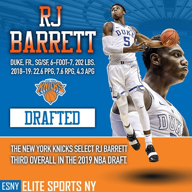 The New York Knicks Select Rj Barrett With The Third Overall Pick In The Nbadraft Newyorkforever New York Knicks Thunder Nba Knicks