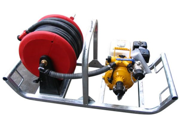 PPK20  Skid Mounted Portable Pump Unit with 19mm hose reel (36mtrs) Genuine 5.5hp Honda/Davey Firefighter Pump 40mm camlock fittings for easy connection Suitable For Water Transfer Fire Fighting Washdown Applications Product Specs Product Code PPK20 Length mm – 1600 Width mm – 600 Height mm – 650  Pre-order Now and Receive FREE Upgrade!