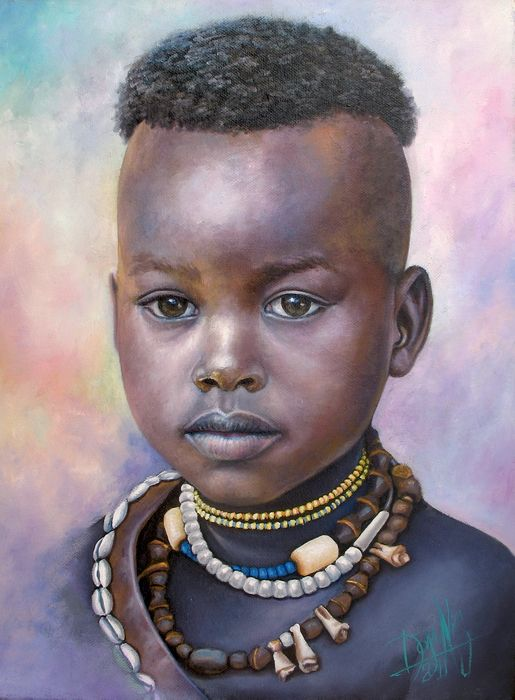 Nina de Africa by Dora Alis Mera V. Dora Alis selected original compositions and recreates imagined scenes portraits in which plasma on the canvas while preserving the look of innocence. This time she presents a series of portraits of children belonging to different ethnic groups in Africa. The color work is striking as the softness of the brushstrokes achieving significant realism without losing the magic of painting.