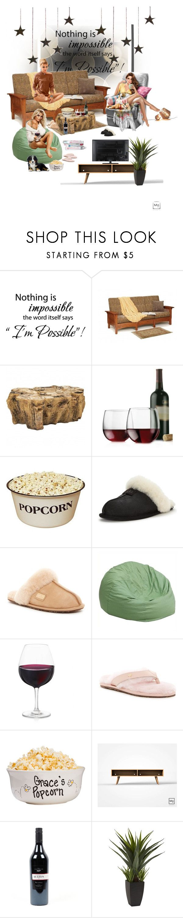 """It's a girl movie night kinda thing"" by vanessaperez0413 ❤ liked on Polyvore featuring WALL, DutchCrafters, Libbey, UGG, Australia Luxe Collective and Flash Furniture"
