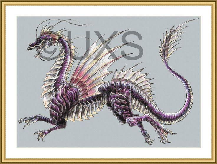 Dragon cross stitch pattern - water dragon modern counted cross stitch pattern…