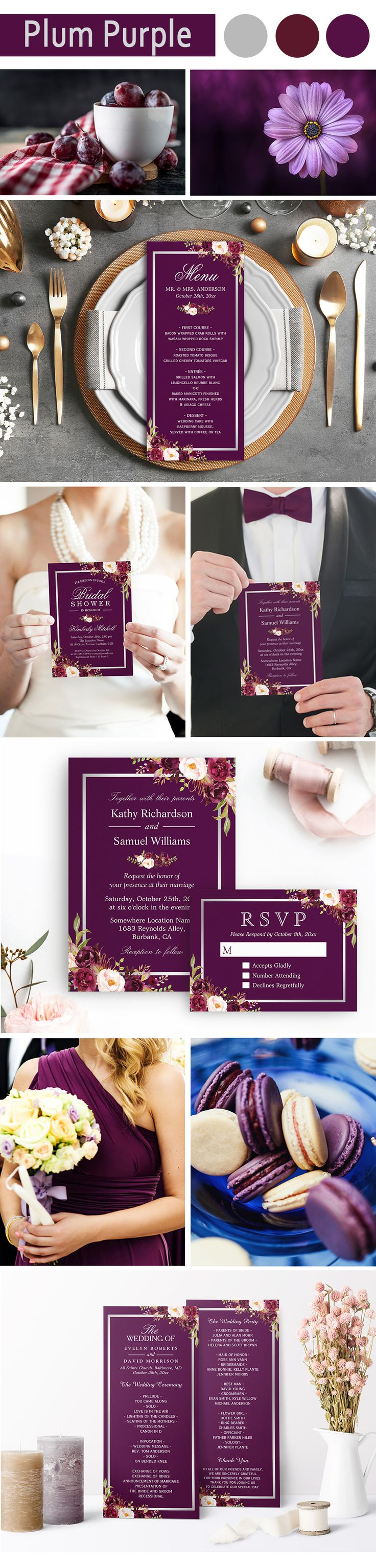 A Plum Purple Floral Silver Gray Invitation