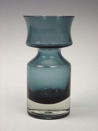 Riihimaki 'Ruusu' steel blue coloured cased glass designed by Tamara Aladin