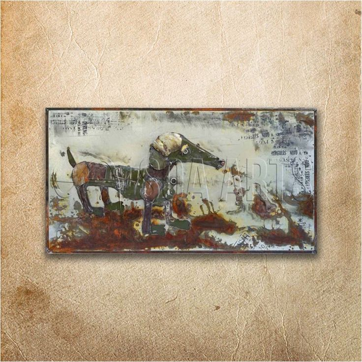 Rustic Dog 3 Dimensional Horizontal Wall Art Painting For Home