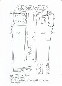 Esquema de modelagem de calça jeans tradicional tamanho 44.