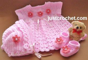 Free baby crochet pattern dress, bonnet and shoes uk