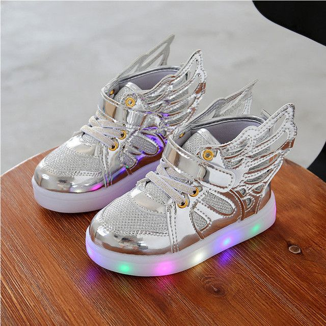 glowing sneakers kid Boys Girls LED shoes Angel Wings Kids light up shoes footwear for Baby prewalker toddler Sports shoe