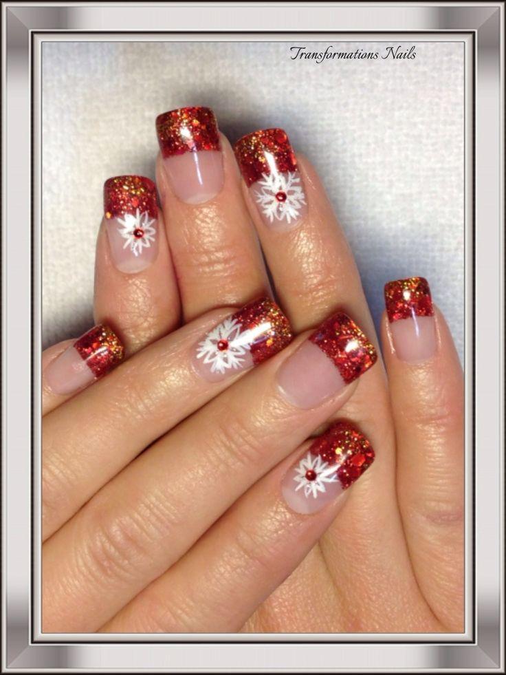 #snowflake nails  #christmax nails #art #nails by #transformations Nails. #red white nails #freehand  #nail art #funky nail #sparkle nail.