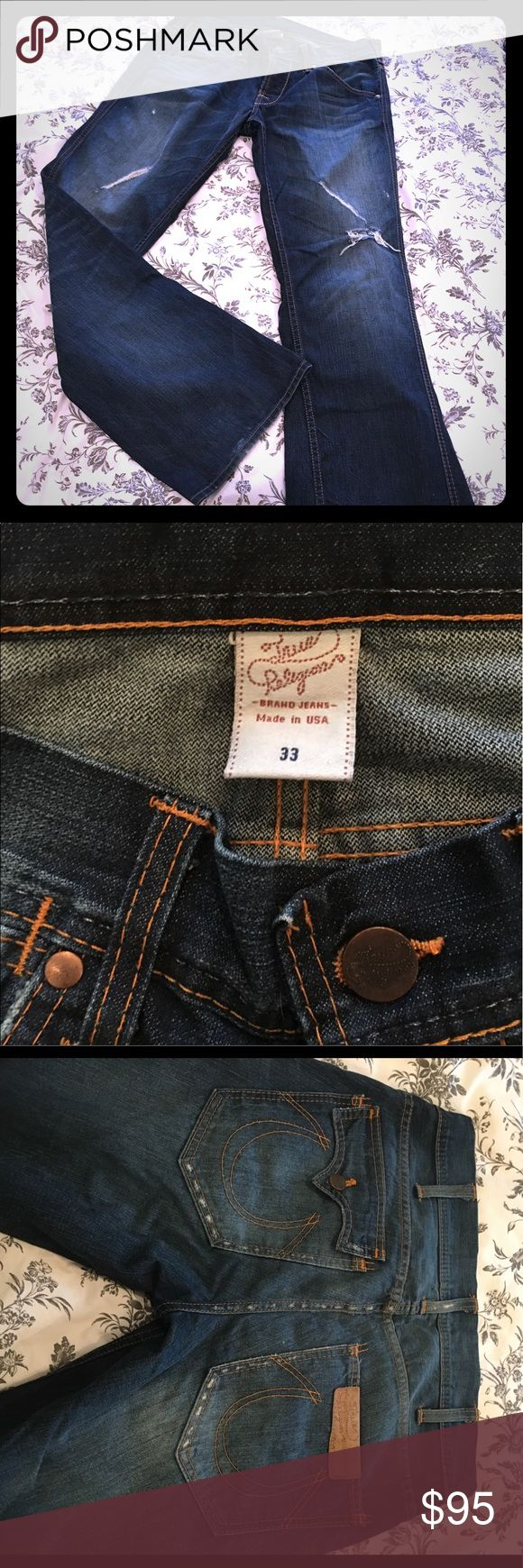 Men's True Religion Jeans  EUC jeans. Nothing wrong and no signs of wear other than the rips for style. Worn only a few times. I'm not sure what the original style name is for these. If I find it I will post. True Religion Jeans Relaxed