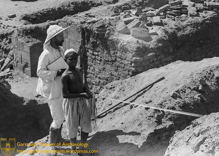JG-M-B-010 (1910) – Close up on Garstang and a boy, looking out over the Isis Temple at site 600 at Meroë.