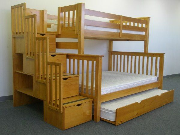 Twin over twin bunk bed with trundle and storage drawers woodworking projects plans - What you need to know about trundle beds ...