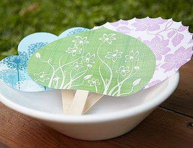 Paper Fans    With our free, downloadable fan templates, making paper fans couldn't be easier. For an outdoor party, consider using them as functional place cards for seating. Write the name of a guest on a fan and set it atop a place setting or seat of a chair.