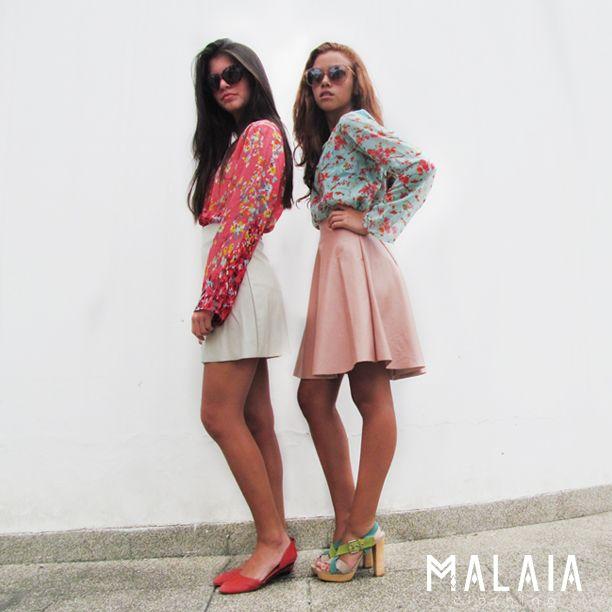 #tbtMalaia de nuestras ✮ sweet girls✮blusa de flores #liz y falda de cuerina rosa #cindy y cuerina beige #chelsea. #malaia #marcaecuatoriana #DMwall