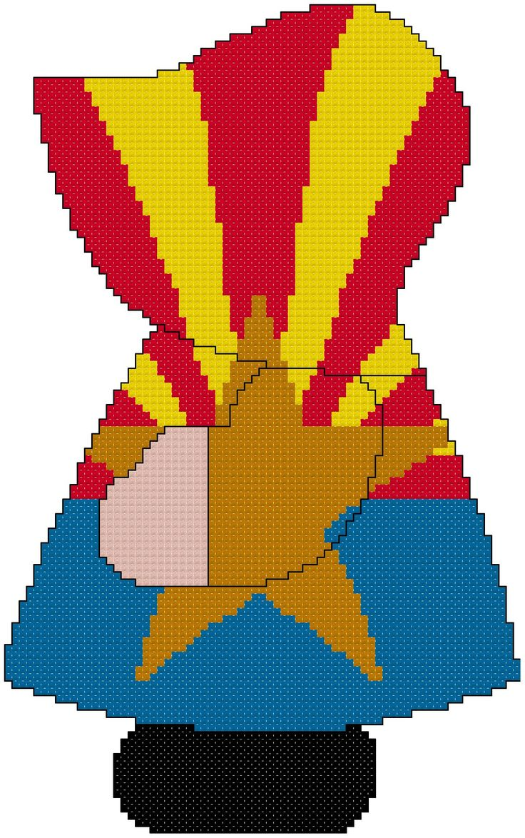 State of Arizona Sunbonnet Sue cross stitch pattern using the state's flag. Pattern is for beginners. Other states are available on Marti Harrington Designs Etsy website.