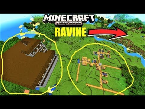 Minecraft PE - VILLAGE NEXT TO MANSION AND RAVINE ! SEED MCPE 1.2.8 - YouTube