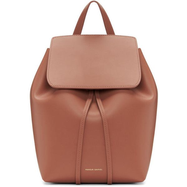 Mansur Gavriel Pink Leather Mini Backpack ($705) ❤ liked on Polyvore featuring bags, backpacks, pink, drawstring backpacks, mini backpack, mini leather backpack, beige backpack and real leather backpack