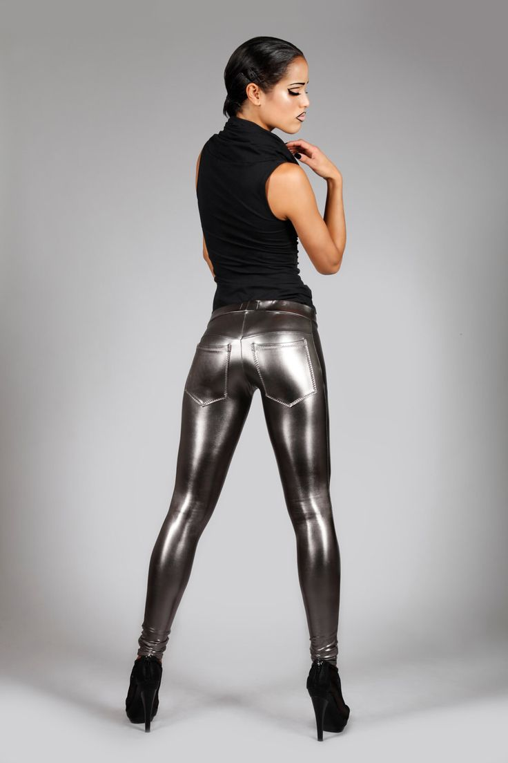 Metallic Jeans-Back Leggings, Gun Metal Spandex Pants, Dark Silver, Futuristic Stage Wear, Glam Rock Clothing, Burning Man, by LENA QUIST by LenaQuistDesign on Etsy https://www.etsy.com/listing/80514028/metallic-jeans-back-leggings-gun-metal