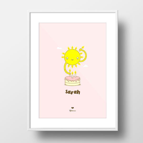 Yislamoo personalized gift newborn sunny candles girl framed print