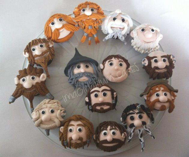 Cupcakes made to resemble all the different dwarves (and a wizard and a hobbit) from the movie.