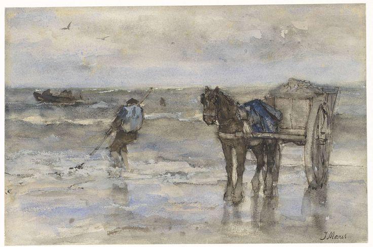Schelpenvisser op het strand, Jacob Maris, 1847 - 1899