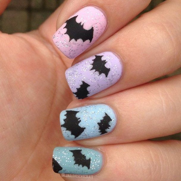 Pin for Later: 102 Halloween Nail Art Ideas That Are Better Than Your Costume Beautiful Bats Source: Instagram user lunaloveschocolate