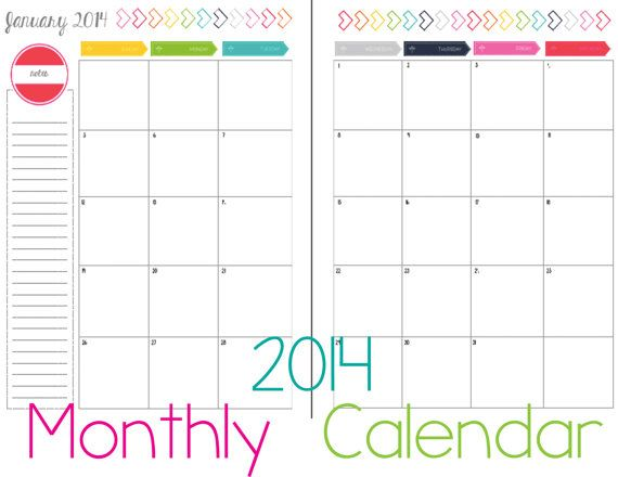 12 month printable calendar-2014-portrait 2 page