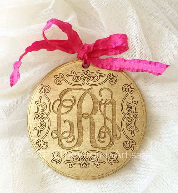 Monogram+Ornaments++Natural+Raw+Wood++Gold++by+TheVirginiaArtisans