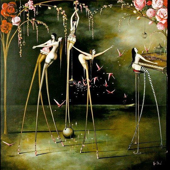 Rozi Demant (New Zealand); title unknown. Rozi's paintings refer to representation surrealism, a genre championed by Dali and Magritte, whose philosophies encouraged the depiction of fantasy and dreamlike scenarios. As a self taught artist, however, Demant's imagery is gleaned entirely from her own imagination.