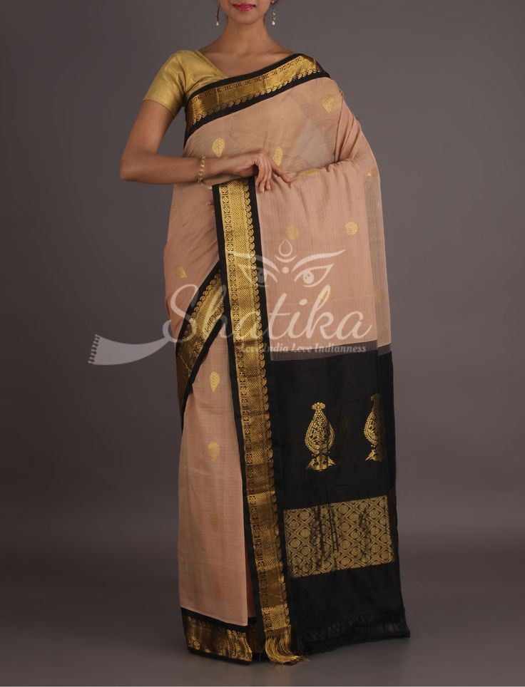 Deepali Peach And Black Refined Gadwal Pure Cotton Saree