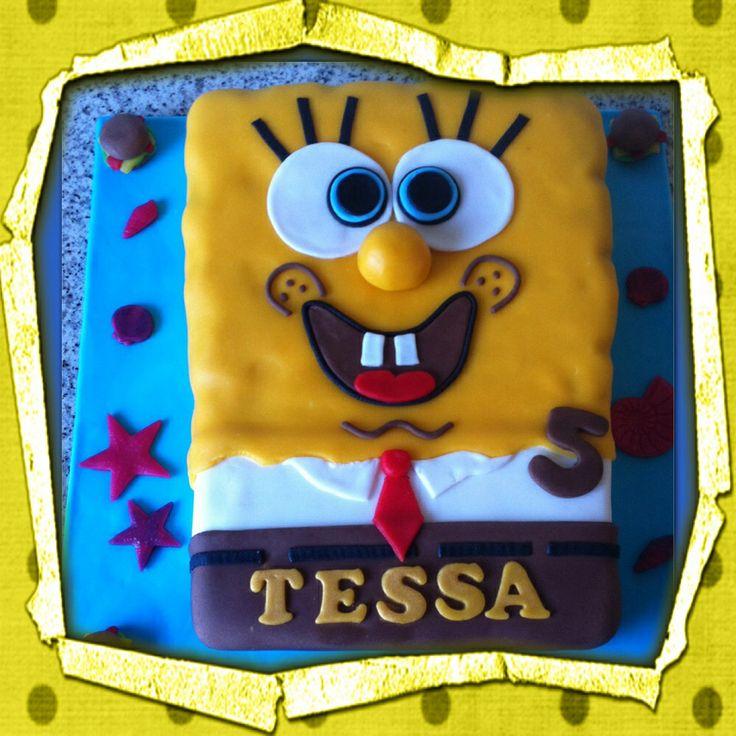 Spongebob taart voor de verjaardag van Tessa