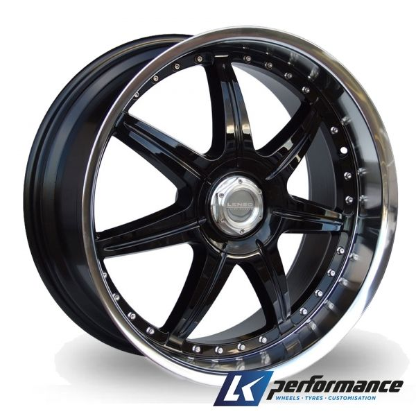 Lenso S73 Gloss black with stainless steel rim for Golf GTI.