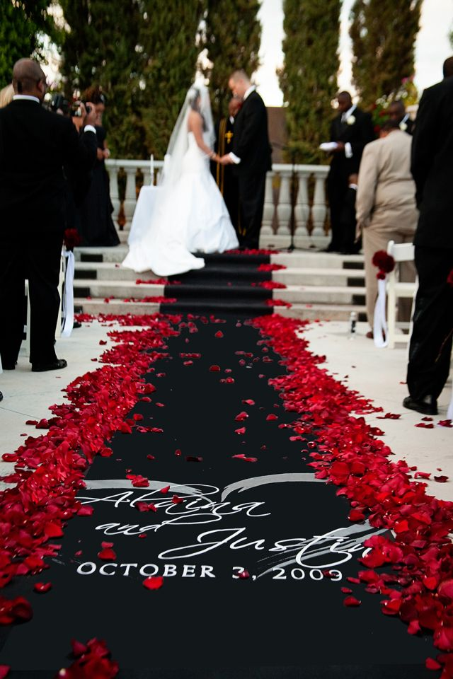 Black and Red Wedding Aisle Runner – shared in a roundup post by Wedding Newsday