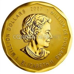 """100 kg One million dollar coin stolen from Berlin museum.  The stolen coin is the """"Big Maple Leaf"""", a commemorative piece issued by the Royal Canadian Mint in 2007.  The three-centimeter (1.18-inch) thick coin, with a diameter of 53 centimeters (20.9 inches), has a face value of $1 million.  It would be worth almost 5,6 $ million at market prices."""