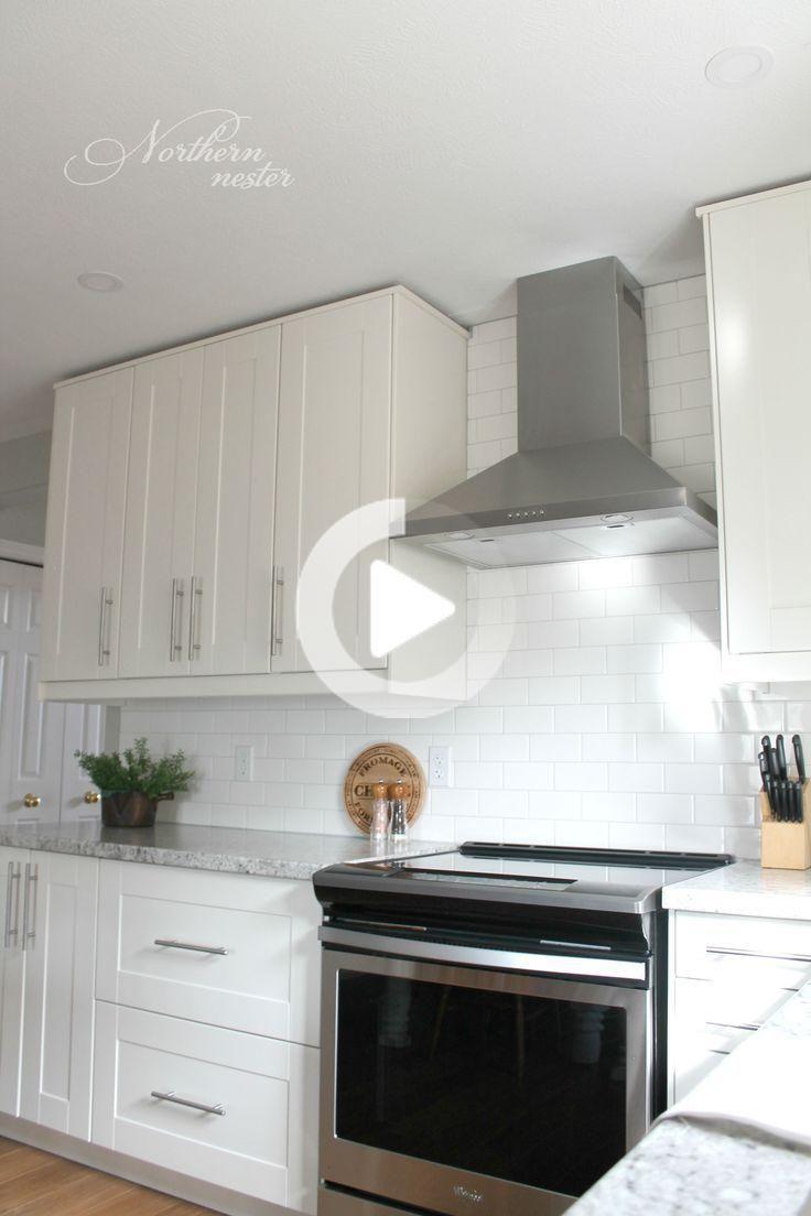 Ikea Kitchen Reno Before After In 2020 Diy Kitchen Renovation Off White Kitchen Cabinets White Ikea Kitchen