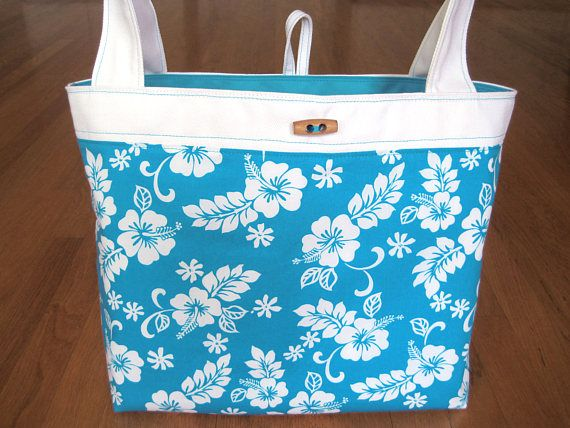 Medium Tote Bag Hawaiian LIGHT BLUE White Hibiscus 100% Cotton Turquoise Denim Mother's Day Birthday Beach Spa gift REVERSIBLE with Pocket! ~ Available on www.MaliakeiBags.com