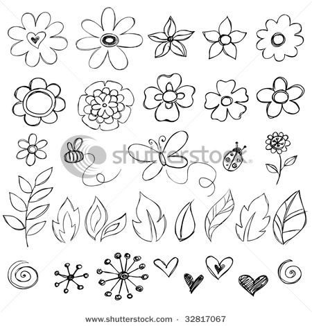 Flowers: for those of use who are new to using a pencil on paper, or a brush on canvas........these simple symbols are great practice!