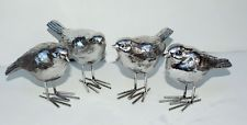 Set of 4 Small Silver Birds Ornament 9 cm  Beautiful Home Gift Figure New