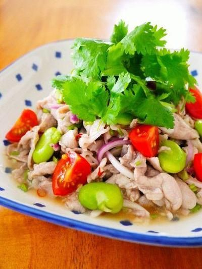 豚こま肉とそら豆のタイ風パクチーサラダ♪お家で簡単タイ料理@アジア ...
