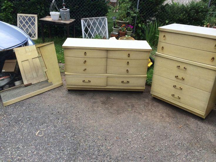 Bassett Furniture 2 Dresser Chest Set With Mirror Mid Century