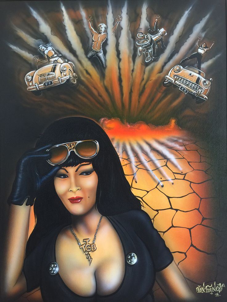 This Tura has the glasses, the glove and the chain and the great Von Franco signature! Gouache and airbrush in sleek black metal frame. 80 x 100cms. $2925 +P&P #turasatana #vonfranco
