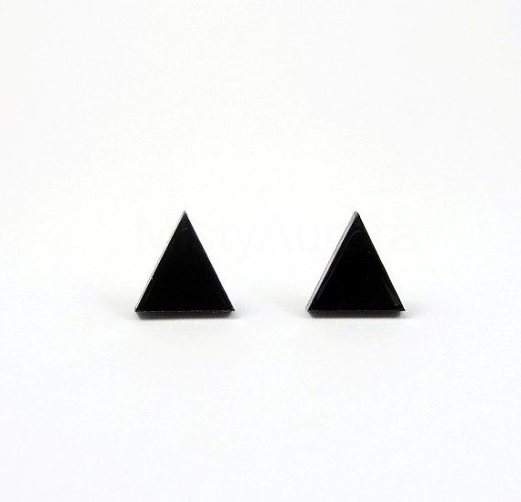 Triangle Stud Earrings,Black Stud Earrings,Small Earring Posts,Geometric Minimalist Jewelry,Black Pyramid,Tiny Earring Studs (E117)