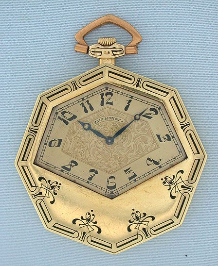 Unusual Touchon Swiss 18K green gold and enamel Art Deco antique pocket watch circa 1925.