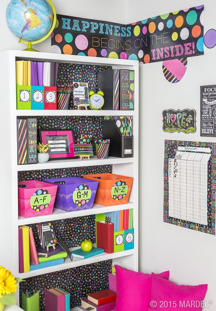 Keep your students engaged with vibrant hues splashed on a black chalkboard background with our exclusive Chalk Talk classroom theme! #ClassroomDecorations #Teachers