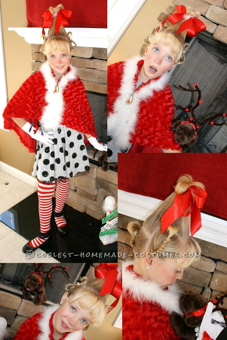 Christmas fancy dress ideas diy - Cool Cindy Lou Who Homemade Girls Halloween Costume